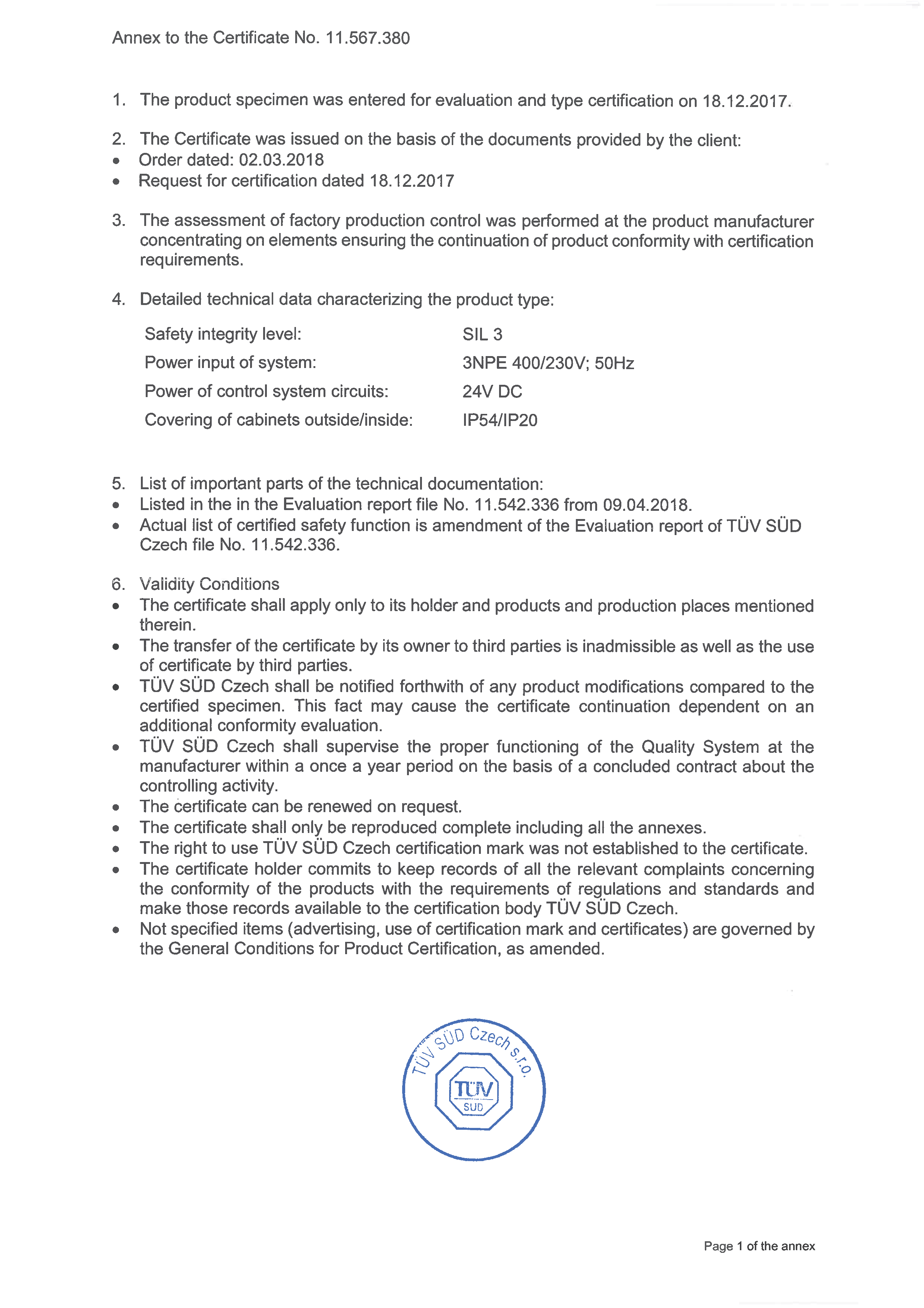 SIL 3 certificate 2